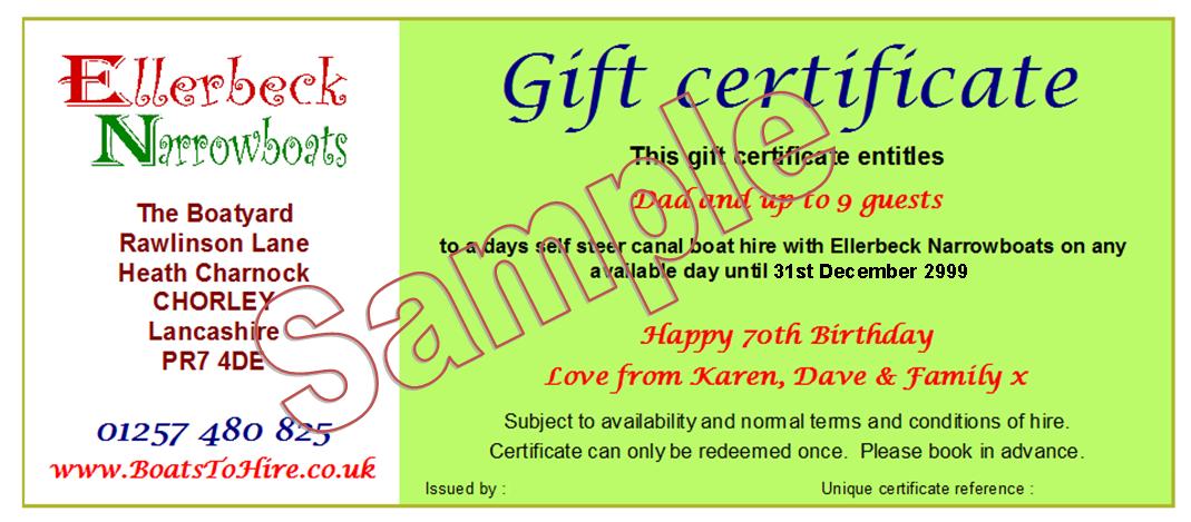 Gift certifiate